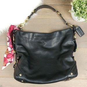 Coach Black Leather Shoulder Bag Gold Harware